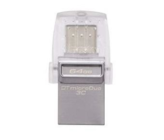 64GB USB3.1 Kingston DataTraveler MicroDuo, Ultra-small, USB OTG Type C (On-The-Go), (Read 100 MByte/s, Write 15 MByte/s)