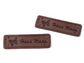 Eticheta din piele ecologică Handmade / maro închis
