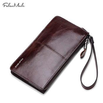 купить Мужской кожаный кошелек Falanmule из натуральной кожи, Coffee в Кишинёве