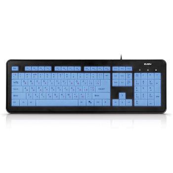 SVEN KB-C7300EL, Keyboard, 12 Fn-keys, fully transparent backlit keys, keys contact membrane with tactile feedback, soft touch coating, USB, Black