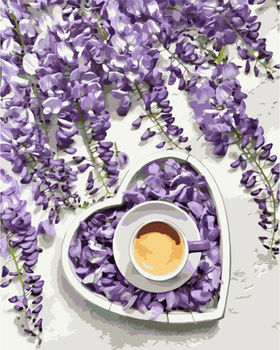 Картина по номерам 40x50 Кофе. Фиолетовое сердце VA1165