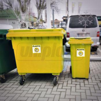 """купить Наклейки """"PLASTIC"""" мусорных баков для раздельного сбора мусора (160 x 160mm) в Кишинёве"""
