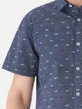 Рубашка HOUSE Темно синий с принтом wz441