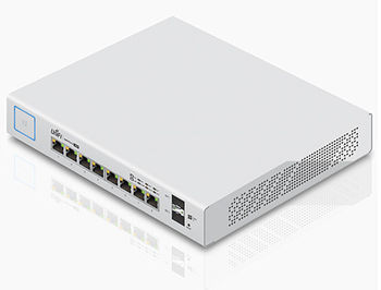Ubiquiti UniFi Switch 8 (US-8-150W), 8-Port Gigabit RJ45, 2-ports SFP, 150W, Supports POE+ IEEE 802.3at/af and 24V Passive PoE, Non-Blocking Throughput: 10 Gbps, Switching Capacity: 20 Gbps, Rackmountable (retelistica switch/сетевой коммутатор)