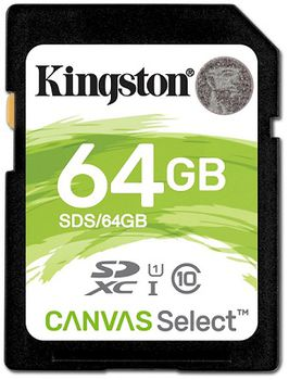 Kingston 64GB SDHC Canvas Select Class10 UHS-I, 400x, Up to: 80MB/s