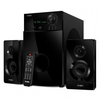 "SVEN MS-2100 Black,  2.1 / 50W + 2x15W RMS, FM-tuner, USB & SD card Input, Digital LED display, built-in clock, set the switch-off time, remote control, all wooden, (sub.6.95"" + satl.(3.15""+1.5""))"