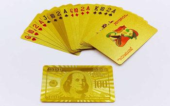 купить Игральные карты золотые IG-4566 Gold 100 DOLLAR ( 54 шт., толщина-0,28мм) (3831) в Кишинёве