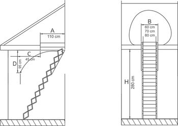 Лестница чердачная Metal 280 Profil 70 x 110 см