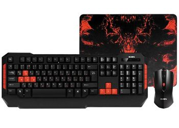 SVEN Challenge 9000 Combo, Gaming Keyboard+Mouse+Mouse Pad, Membrane keyboard 114-keys with 10-multimedia keys, Optical mouse 5+1 buttons (scroll wheel), 600/1000/1200/1800 dpi, DPI switching modes, Mouse pad dimensions 275x222x3 mm, USB, Black