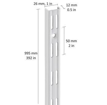 купить Настенные рельсы с 2-рядным слотом 995 мм, белый в Кишинёве