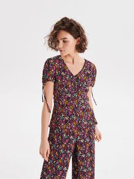 Блуза CROPP Черный в цветочек