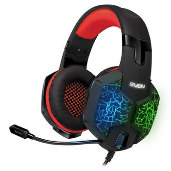 {u'ru': u'SVEN AP-U988MV, Gaming Headphones with microphone, sound 7.1, 7 colors dynamic backlight, Non-tangling cable with fabric braid, Cable length: 2.2m, USB, Black/Red', u'ro': u'SVEN AP-U988MV, Gaming Headphones with microphone, sound 7.1, 7 colors dynamic backlight, Non-tangling cable with fabric braid, Cable length: 2.2m, USB, Black/Red'}