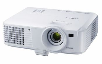 MMProjector Canon LV-WX320 + Gift Kit, DLP 3D, 16:10 WXGA (1280x800), 10000:1 (full on/full off), 3200Lm, 6000hrs (Eco), 1.1x zoom lens, HDMI and 2x VGA ports, RJ-45 (100BASE-TX / 10BASE-T) port, 10W speaker, Remote control, White, 2.5kg