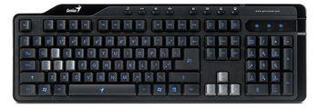Genius KB-G255 Gaming Multimedia Keyboard, 8-keys, LED backlight , Anti-ghosting game keys perfect for FPS/STG on-line games, Keycap changer set, Spill resistant design, USB, Black