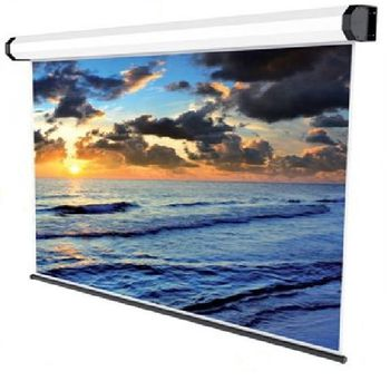 """Sopar Electrical Projector Screen 180x135cm, """"New Gold""""-series (84""""), 4:3, 11.6Kg, 3D Projection, Black Border, Aluminium Frame painted White"""