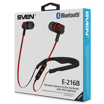 SVEN E-216B, Bluetooth Earphones with microphone, Bluetooth v.4.0, Call acceptance, operation time with battery up to 5 hours, range of action up to 10 m, track and volume control possibility, Black-Red