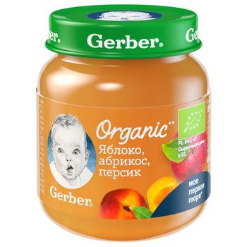купить Gerber пюре Органик яблоко, абрикос и персик, 5+ мес, 125 гр в Кишинёве