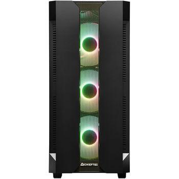 Case ATX Miditower Chieftec Gaming Hunter GS-01B-OP Black no PSU, 2x USB 3.1, 1x USB 2.0, Audio-out, 4x 120mm A-RGB Rainbow LED fan, Mesh front panel, Tempered glass, A-RGB Control HUB, (carcasa/корпус)