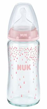 купить Бутылочка стеклянная NUK FC с силиконовой соской 240 мл (0-6 мес) розовая в Кишинёве
