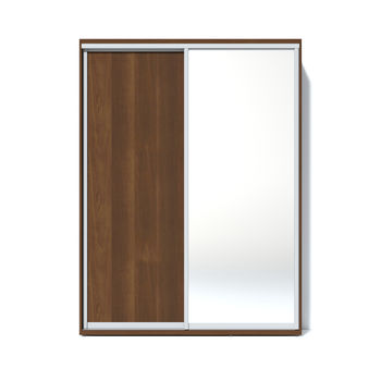 Шкаф купе 1600 1 зеркало, Орех тёмный