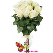 cumpără Buchet de 15 Trandafiri albi  PREMIUM OLANDA 80-90CM în Chișinău