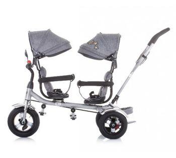 купить Трицикл для близнецов Chipolino 2PLAY TRK2P0204GY серый в Кишинёве