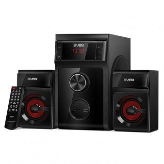 SVEN MS-302 Black,  2.1 / 20W + 2x10W RMS, FM-tuner, USB & SD card Input, Digital LED display, remote control, sub. wooden