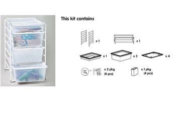 cumpără Set compus din 2 rame în 7 rânduri, cu 4 coșuri solide și capac, 740x535x450 mm, alb în Chișinău