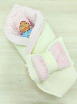 Конвертик-одеялко 100*80 см Велюровый молочный с розовым