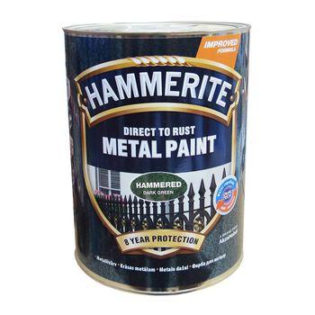 Hammerite Краска для металла Темно-Зеленая молотковая 5л