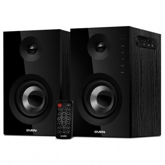 SVEN SPS-721 Black,  2.0 / 2x25W RMS, Bluetooth v. 2.1 +EDR, USB flash, SD card, remote control, Headphone input, glossy black front panels, wooden.