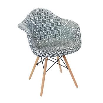 cumpără Scaun tapiţat cu picioare de lemn cu suport metalic, 460x640.5x480x800 mm, alb cu negru în Chișinău