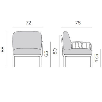 Кресло модуль правый / левый с подушками Nardi KOMODO ELEMENTO TERMINALE DX/SX BIANCO-canvas Sunbrella 40372.00.141