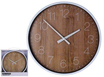 """Часы настенные круглые 25cm, H4.2cm """"дерево"""", пластик"""