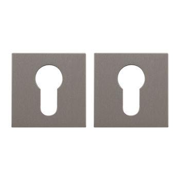 Дверная ручка на розетке Flake матовый никель  + накладка под цилиндр