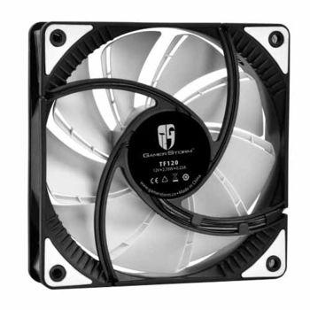 "120mm Case Fan - DEEPCOOL Gamer Storm TF series ""TF120"" Fan with White LED, 120x120x26mm, 500-1800rpm, <17.6~31.3dBa, 76.5CFM, Fluid Dynamic Bearing, 4Pin, PWM, 2-Layer Blade Design, DIY Solution, MTBF >100000 hours"