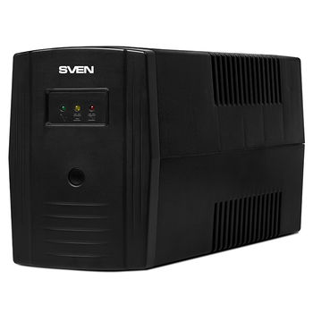 SVEN Pro_600, Line-interactive UPS with AVR, 600VA /360W, 2x Schuko outlets, 1x7AH, AVR: 175-280V, Cold start function, Black