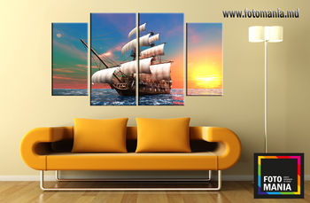Картина напечатанная на холсте - Триптих из 4 частей Корабль 0001 / Печать на холсте