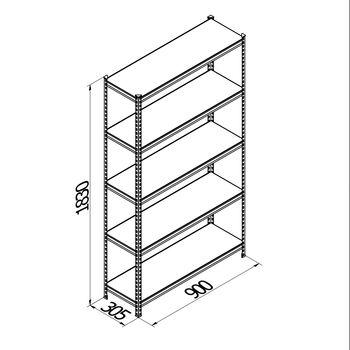 купить Стеллаж металлический Gama Box 900Wx305Dx1830H мм, 5 полок/0164PE антрацит в Кишинёве