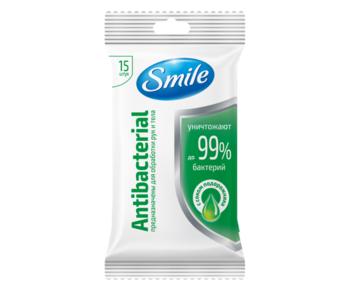 купить Влажные салфетки Smile Антибактериальные с соком патлагина, 15 шт. в Кишинёве