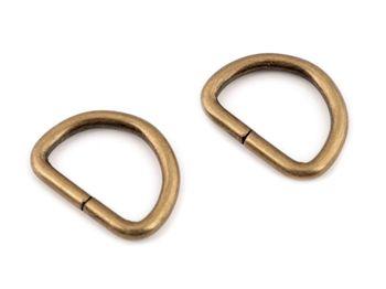 Inel metalic tip D, 20 mm, alamă antică