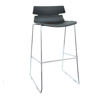 купить Барный стул, сиденье из пластика и с хромированными ножками, черный в Кишинёве