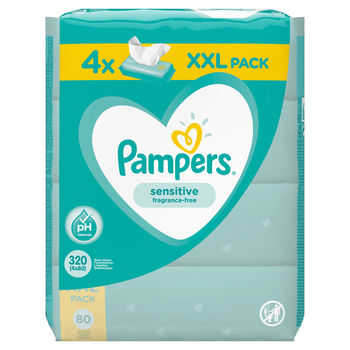 купить Влажные салфетки Pampers Sensitive 4x80 шт/блок в Кишинёве