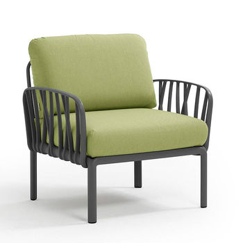Кресло с подушками для сада и терас Nardi KOMODO POLTRONA ANTRACITE-avocado Sunbrella 40371.02.139