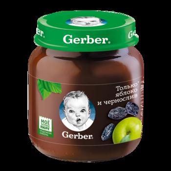 Пюре Gerber яблочно-сливовое, с 6 месяцев, 130г