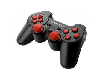 купить Gamepad Esperanza WARRIOR EGG102R  Black/Red, Vibration Game Pad, 15 buttons, 2 sticks, Ergonomic design, 2 modes (analog and digital), Soft sweat-resistant surface coating, PC Win 7,8,10 compatible, USB в Кишинёве