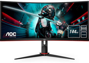 "34.0"" AOC VA LED CU34G2/BK Curved Black (1ms, 80M:1, 21:9, 300cd, 3440x1440, 100Hz, 178°/178°, HDMIx2, DisplayPort, Curvature 1800R, USB Hub: USB3.0 x 4, Height Adjustment, Audio Line-out, VESA)"