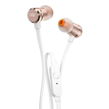 JBL TUNE 290 Gold In-ear headphones with microphone ,Aluminum finishes, Dynamic driver 8.7mm, Frequency response 20 Hz-20 kHz, 1-button remote with microphone, JBL Pure Bass sound, Tangle-free flat cable, 3.5 mm jack, Gold
