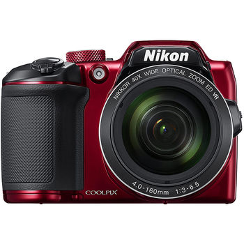 "NIKON Coolpix B500 Red, 16.0 MP 1/2.3"" BSI CMOS Sensor, NIKKOR f/3.0-6.5mm ED Lens, 22.5-900mm (35mm Equivalent), 40x Optical Zoom Lens, 80x Dynamic Zoom, 3"" 921k-Dot Tilting LCD, Full HD 1080p Video Recording at 30 fps, Bluetooth (BLE), Wi-Fi, VNA953E1"