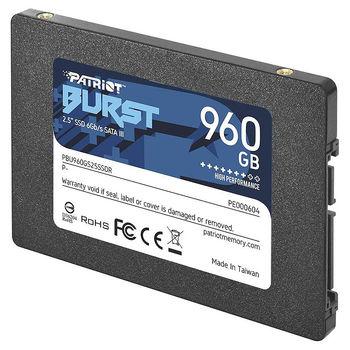 "Внутрений высокоскоростной накопитель 960GB SSD 2.5"" Patriot Burst PBE960GS25SSDR, 7mm, Read 450MB/s, Write 320MB/s, SATA III 6.0 Gbps (solid state drive intern SSD/Внутрений высокоскоростной накопитель SSD)"